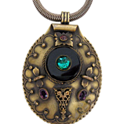 Large Pendant w Green, Purple & Black Glass, Serpentine Chain