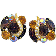 Hobe' Clip Earrings from 50's w Light & Dark Topaz Glass Prong Set Jewels