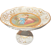 Large German Hand Painted Porcelain Reticulated Compote