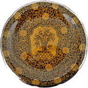 Black and Yellow Transferware Plate