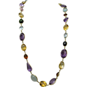 SALE Vintage 18K Multi Stone Station Necklace 350 Carats