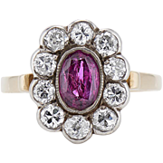 SALE Gorgeous Ruby and Diamond Flower Ring 18k