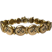 SALE 14k Victorian Button Bracelet with Mine-Cut Diamond Shamrocks