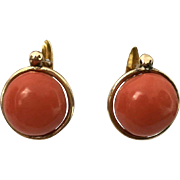 SALE 14K Salmon Coral Button Earrings