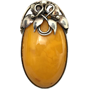 SOLD Butterscotch Egg Yolk Amber in Sterling Silver Brooch Pendant Combination