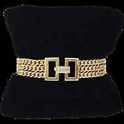 SALE Ladies Diamond, Platinum & 14K Gold Triple-Row Curb Link Bracelet
