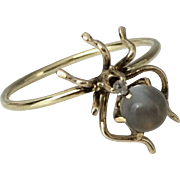 SOLD 14k Gold Moonstone & Diamond Spider Stick Pin Conversion Ring