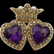 SALE 14k Krementz Amethyst Seed Pearl & Amethyst Crowned Heart Brooch