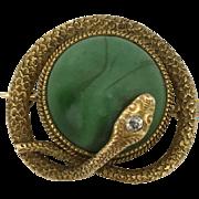 SALE Vintage Krementz & Co Malachite & Diamond 14K Snake Serpent Pin