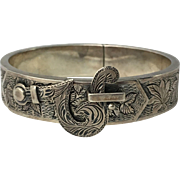 Late Victorian Buckle Bangle with Etched Foliate Designs