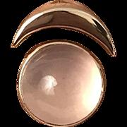 SALE Custom Made 14K Rose Gold & Rose Quartz Clair de Lune Moon Ring