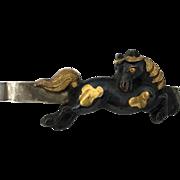 Japanese Meiji Menuki Horse Shakudo Mixed Metal Tie Bar
