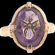Amethyst & Rose-Cut Diamond Butterfly Intaglio Ring