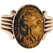SALE Outstanding 14K Rose Gold Tigers Eye Cameo Ring - Zeus