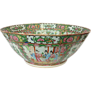 SALE Large 19th Century Chinese Export Canton Famille Rose Porcelain Punch Bowl