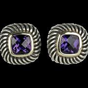 David Yurman Petite Albion Collection Amethyst Earrings in 14K & Sterling Silver