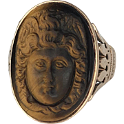 14K Rose Gold Tigers Eye Cameo Ring of Hebe and the Eagle of Zeus