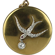 Beautiful 18K, Platinum and Diamond Edwardian Swallow Locket