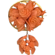 SALE Carved Italian Coral Floral Brooch Pendant with Drop c 1860's