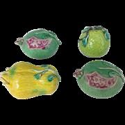 SALE Set of 4 Chinese Export Porcelain Altar Models Fruit - Pomegranate, Citron, Pear