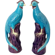 SALE Pair of Chinese Export Porcelain Phoenix Birds with Turquoise Glaze - Circa 1900