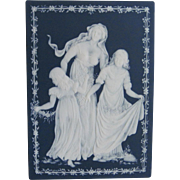 Mettlach Pate-sur-Pate Plaque Deep Blue with Woman & Two Young Ladies