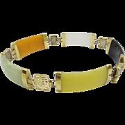 Estate Solid 14kt Gold 5 Linked Section Natural Multi-Color Wide Jade Bracelet...Beautiful ...