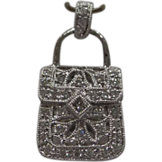 Unique Miniature Solid 18kt White Gold Genuine Diamond opening Pocket Book Purse charm / ...