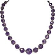 Genuine Faceted Amethyst and Rock Crystal Bead Necklace