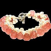 SALE Faceted Briolette Cherry Quartz and Glass Pearl Bracelet