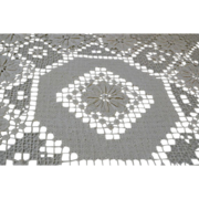 Vintage Needle Weaving and Drawn Work Tablecloth or Scarf  Crochet