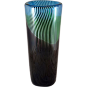 SOLD Amazing Czech Cased Art Glass Vase Turquoise, Green, Purple