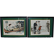 "Framed Print Set -- Howard Chandler Christy's ""Canoemates"" and ""Unstable as Wat"