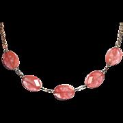 Faceted Cherry Quartz Necklace Sterling Paper Clip Chain
