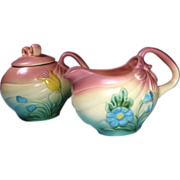 Hull Creamer Sugar Set Bow Knot Pattern