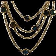 Vintage Open Back Crystals Necklace Autumn Colors