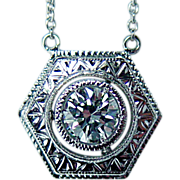 REDUCED Vintage Platinum .37ct VS-GH Solitaire Diamond Necklace Estate Jewelry