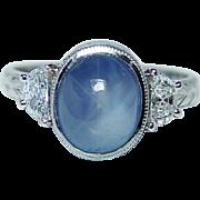 SALE Vintage Platinum 2.7ct Great Star Sapphire Half Moon Diamond Etched Ring Estate Jewelry
