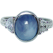 SALE Vintage Platinum 2.7ct Great Star Sapphire Half Moon Diamond Etched Ring Estate Jewelry