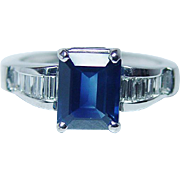 Designer JB STAR 2.5ct Sapphire Diamond Ring Platinum Estate Jewelry