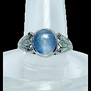 SALE Vintage Platinum 3.5ct Star Sapphire Baguette Marquise Diamond Ring Estate Jewelry