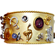 REDUCED Vintage Diamond Star Sapphire Pearl 14K 18K Platinum Charm Bracelet