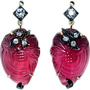 Vintage Old European Diamond Carved Rubellite Tourmaline  Earrings 14K Gold Estate Jewelry