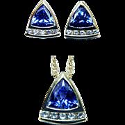 3ct Tanzanite VS-GH Diamond Pendant Earrings Set 14K Gold Estate Jewelry