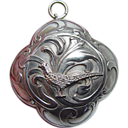French   Art Nouveau Rose Diamond Pheasant Chatelaine Pill Box Silver 18K Gold