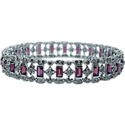 4.5ct Pink Tourmaline 6.5ct Champagne Diamond Bangle Bracelet 18K White Gold HEAVY Estate ...
