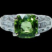 Vintage Cushion Peridot Marquise Baguette Diamond Ring 18K White Gold Estate Jewelry