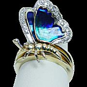 Diamond Cobalt Blue Enamel Butterfly Ring 14K Gold HEAVY Vintage Estate Jewelry