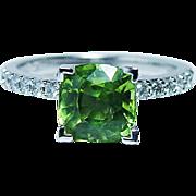 Vintage Cushion Peridot Diamond Ring 14K White Gold Estate Jewelry