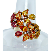 Giant 7ct Fancy Orange Sapphire Diamond Ring 14K Gold Estate Jewelry Heavy